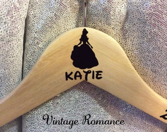 Disney Belle, Beauty and the Beast wooden Wedding day Bridal dress hanger x1