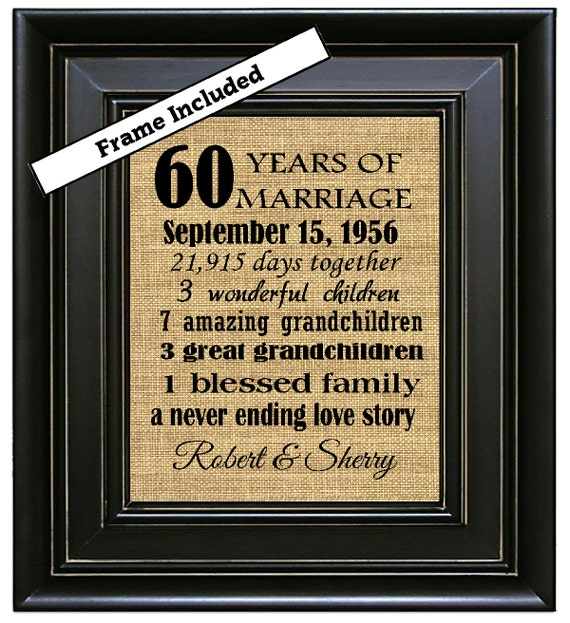 Gifts For 60th Wedding Anniversary: FRAMED Custom 60th Wedding Anniversary Gift/60th By