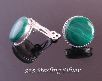 Sterling Silver Clip On Earrings 085 with Green Agate Gemstone | Silver Earrings, Earrings, Gifts for Women, Mother, Mum