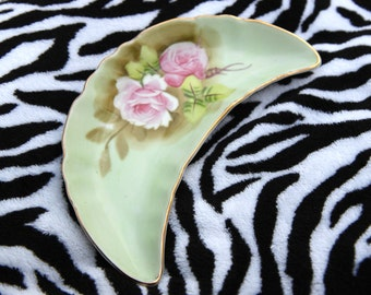 Vintage Antique Hand Painted Rose Grafton China Green Crescent Moon Dish