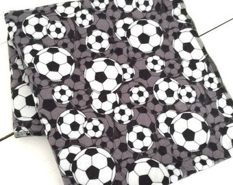 Soccer Ball XL flannel baby blanket   -black  -gray  -white -sports  -baby