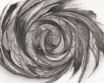 Original A5 Ink Drawing/Painting - Abstract Spiral Black Ink Patterns