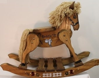 Small, theme, handcrafted, hand painted wooden rocking horses