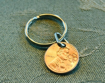 Lucky Penny Keyring - Real US Cent with Four Leaf Clover - Shamrock - Good Luck!