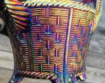 Antique Northwood Carnival Glass~Bushel Basket Round with Ribbed Handle~Cobalt Blue