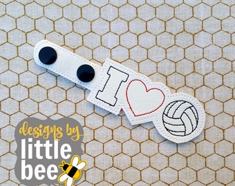 I love volleyball! sports snap tab key fob keychain DIGITAL FILE machine embroidery design Instant Download ith