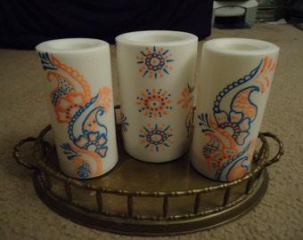 Henna inspired flameless (LED) pillar candles (set of 3)