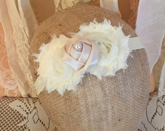 Ivory Chiffon Headband Your Choice Rose with Pearl