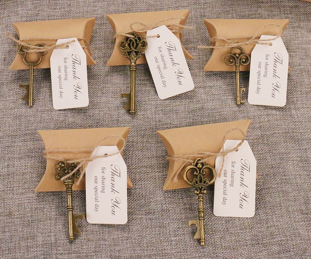 50 wedding favors candy favor boxes w mixed skeleton key shaped bottle openers thank you sharing. Black Bedroom Furniture Sets. Home Design Ideas
