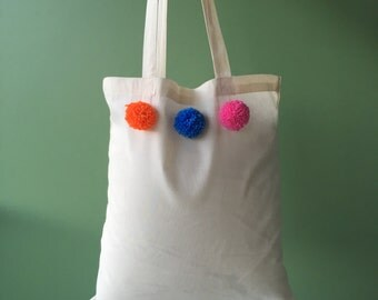 Cotton Tote with Pom Poms