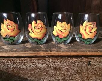 Orange Rose Stemless Wine Glass Set
