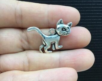 5pcs Wicked Grumpy Cat Tibetan Silver Charm 29x22mm