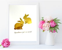 """Real Gold or Silver Foil Print-  Two Rabbits Silhouette """"Sometimes just one second"""" - Alice in Wonderland Print - Romantic Art - Home decor"""
