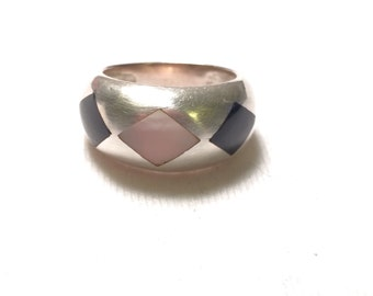 Su 925 sterling sliver dome ring with gem / stone