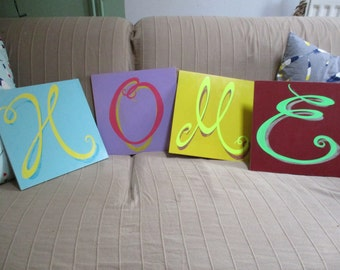 HOME four individually handpainted letters