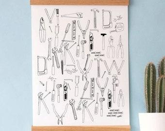 L'outil boîte à imprimer - cadeau fête des pères - cadeau DIY - pour papa - charpentier - mur décor - motif - dessinée à la main