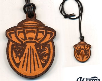 Laser Cut Leather Necklace and Keychain UFO