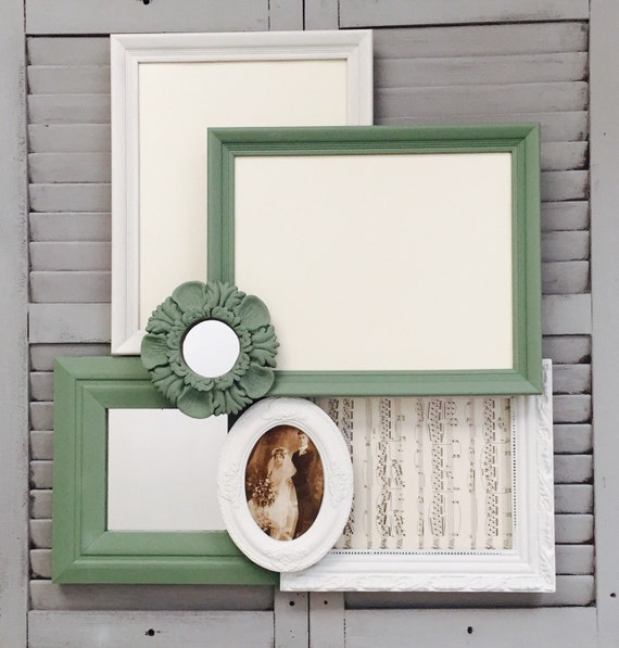 Mint Green And White Gallery Wall Frames With Mirrors
