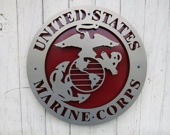 "United States Marine Corps (USMC) Metal Sign - 15"" x 15"""
