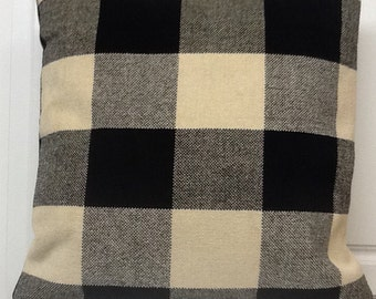 Tweed Khaki and Black Plaid Pillow Cover