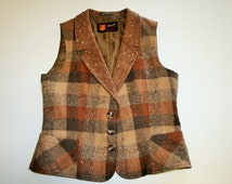 Brown Checkered Womens Vest Beige Wool Vest Checked Brown Waistcoat Scandinavian Folk Waistcoat Size Medium to Large