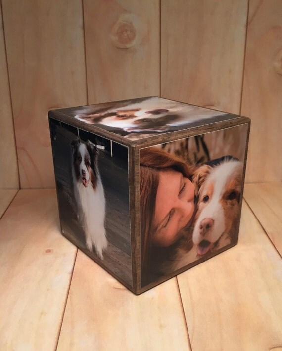 Pet Remembrance Wood Photo Block, Custom Dog Loss Gift, Pet Loss, Personalized Animal Memorial, Wooden Photo Cube, Family Home Decor