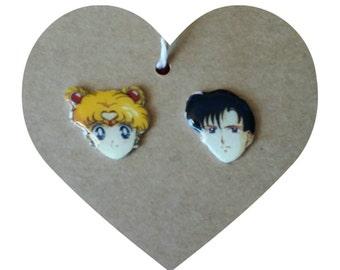 Sailor Moon and Tuxedo earrings