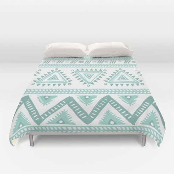 Mint Green And White Duvet Cover forter by