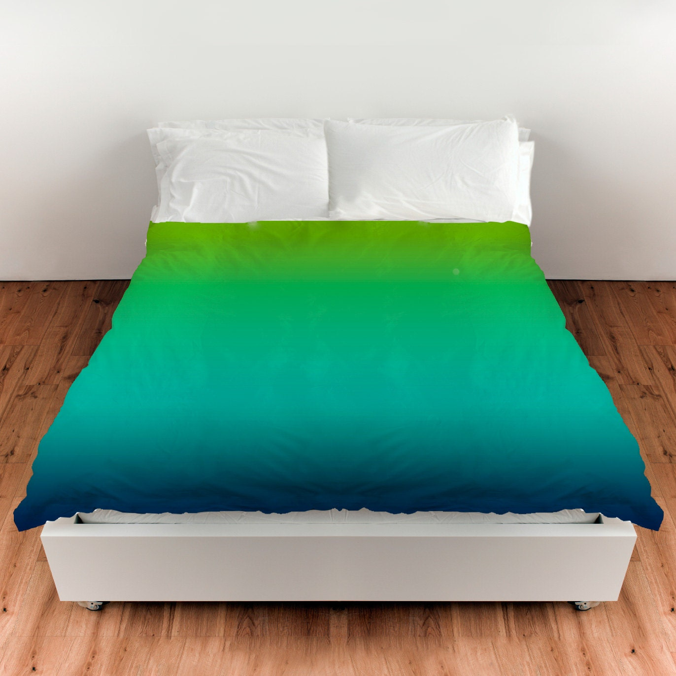 Lime Green Blue Ombre Duvet Cover Comforter By