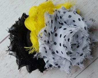 Bumble Bee Shabby Clip, Ready To Ship, Little Girls Hair Clip, Hair Accessories, Baby Girls Hair Clip, Yellow Black White Clip, Shabby Clip