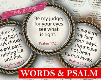 "Download Inspirational Words Psalm Sheet- digital collage sheet - td224 - 1.5"", 1.25"", 30mm, 1 inch Circles, 25 mm - Images circles pendant"