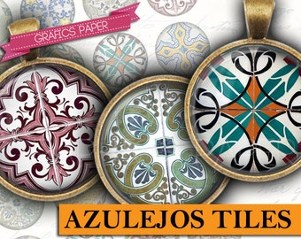 "Arabesque Azulejos Tiles - digital collage sheet 1 inch circles, 1.5"", 1.25"", 30mm, 25mm round Printable Images - Round Pendant, bezel td410"