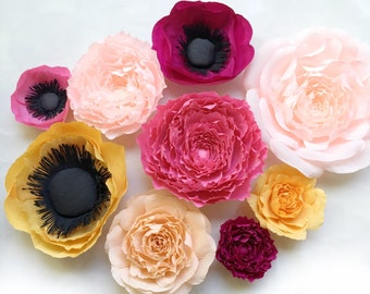 Anemone, Peony, and Rose Crepe Paper Flower Wall Decor-Giant Paper Flowers-Boho Nursery Decor