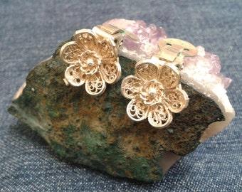 Vintage Filigree Silver Flower Earrings