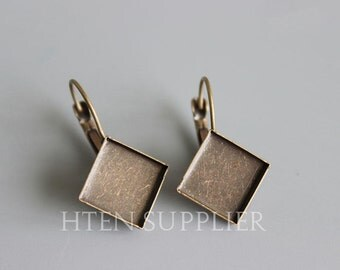 50pcs  Silver / Antique bronze / gold within 12MM square Earring Setting 12 Brass French Earwires Hook With Round Pad
