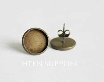 100Pcs 12mm Antiqued Bronze Earring setting,Earring Posts With Round 12mm Pad