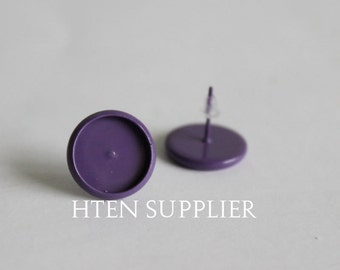 20/100pcs Purple paint Earring Posts With Round 12mm Pad,8mm 10mm 12mm 14mm 16mm Earring setting , Earrings Blank