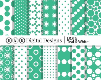Teal Polka Dot Digital Paper: Teal and White Printable Patterns, White and Teal Digital Paper, Teal and White Scrapbook Paper