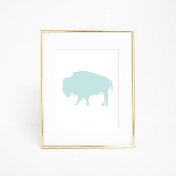 Nursery Art, Bison Print, Mint Buffalo Print, Digital Home Print, Printable Buffalo Art, Digital Print, Instant Download, Printable Art