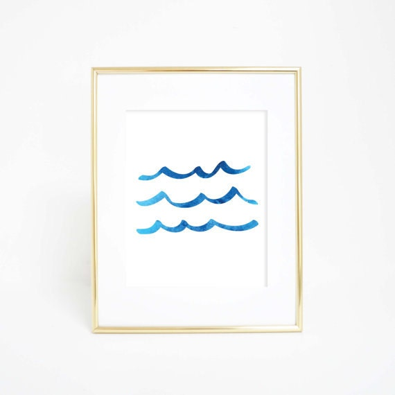 Blue Watercolor Print, Ocean Waves Print, Wave Artwork, Wave Art Print, Wave Print, Ocean Decor, ocean Print, Dorm Prints, Office Decor