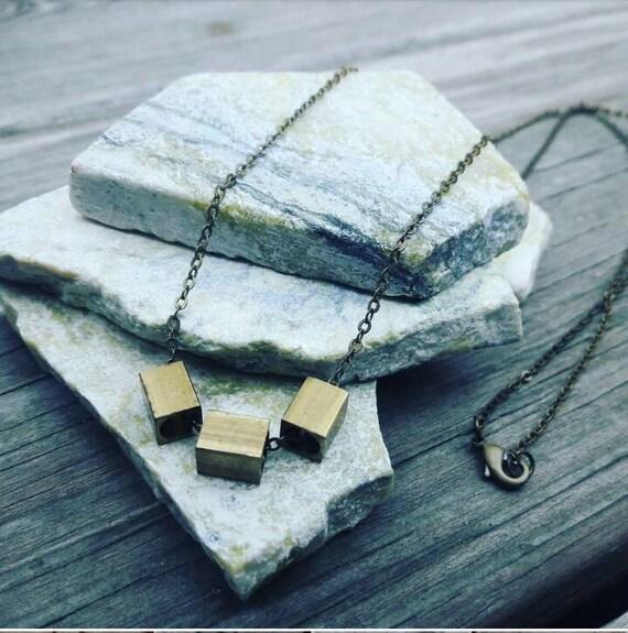 necklace raw Brass necklace- raw brass jewellery- minimal jewellery