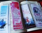Geek Bookmarks, handmade laminated prints of my original paintings. Tardis, BB-8, Owl Zentangle.