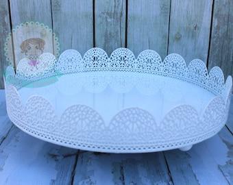 FAST Shipping!!! Eyelet Cake Stand, Trat Pedestal, Cupcake Pedestal, Treat Tray, Treat Eyelet Tray