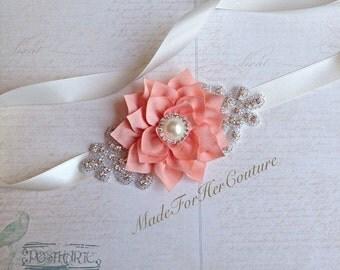 Peach Flower Girl Sash, Flower girl belt, bridesmaid belt, bridesmaid sash, Peach flower belt, Peach Sash, Wedding Sash, Wedding Belt