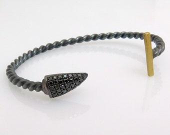 Black diamond bracelet, Silver cuff bracelet, Oxidized silver bracelet, Silver and gold bracelet, 18k gold bracelet, Unique gold bracelet