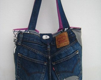 Upcycled jean tote bag