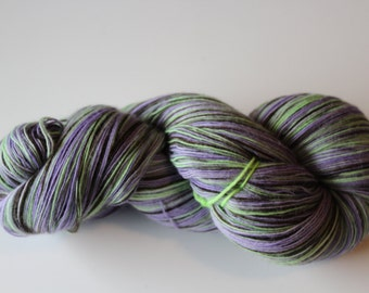 Hand dyed merino silk lace weight yarn; Color: Braaainnnsss...