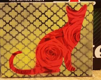 8x10 Rose Cat Silhouette