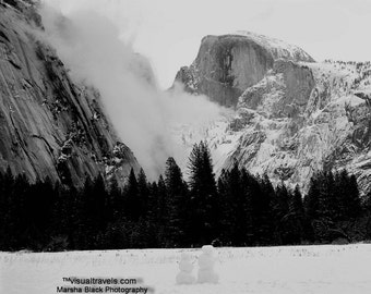 "Yosemite Photography, ""Yosemite National Park in the Black and White of Winter"" Prints, Yosemite Cards Black White, Yosemite Wall Art"