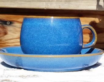 Vintage Denby England Stoneware Ombre Blue Ram's Head Pattern
